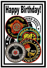 NORTHERN SOUL / MOTOWN BIRTHDAY CARDS (PATCHES) - GLOSS FINISH - BRAND NEW