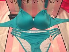 Victorias Secret Swimsuit The Hottie Halter Push-Up Teal Strappy 32B Small $93