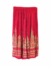 BOHEMIAN WOMEN LONG SKIRT RED SEQUIN WORK BOHO hippy gypsy ETHNIC INDIAN SKIRTS