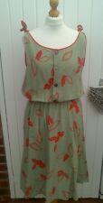 VINTAGE 80S FLORAL KHAKI RED SUN DRESS SIZE 12