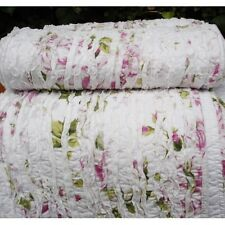 Shabby Chic Ruffle Bed Runner / Bed Scarf + Cushion Cover Crisp White Background