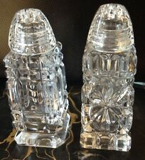 BOHEMIAN Cut Crystal Salt And Pepper Shakers Made In Czechoslovakia EUC