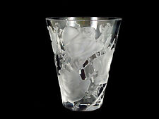 Lalique Frosted Clear Crystal Art Glass Flared Vase