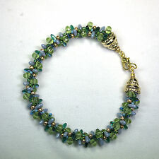 Green and Blue  Kumihimo Seed Bead Bracelet with gold-filled findings