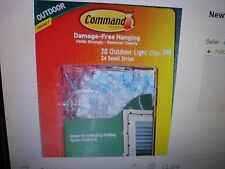 New ! 2 X 20 Clear Clips 3M Command Clips for Hanging Outdoor String Lights,