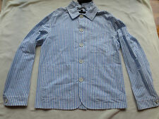 NWT $1195 BURBERRY PRORSUM Mens Blue/White Stripe Cotton Coat/Jacket US 36 EU 46