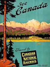 PRINT POSTER TRAVEL CANADA RAIL TRAIN LAKE MOUNTAIN SCENIC TREE PINE NOFL1306
