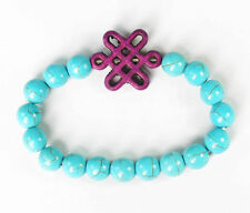 Turquoise Blue Bracelet with Purple Chinese Knot