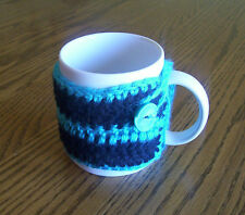 Hand Crochet Black & Turquoise with Button Trim Coffee Mug Cozy