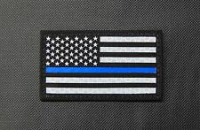 Thin Blue Line US Flag Patch SOLAS Reflective & Black Police SWAT SERT Gang Team