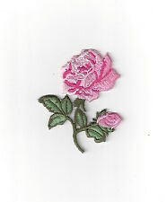 "#5080 2-5/8"" Pink Rose Flower Embroidery Iron On Appliqué Patch"