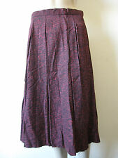 New Vintage 1960s A-Line Womens Pink Red Black Calf Length Skirt Size UK 12 14