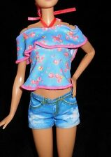 NEW Tall Barbie Doll Clothes Fashionista Evolution Jean Shorts Flower Top Shirt