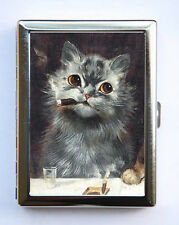 Grey Cats Smoking Cigarette Case Wallet Business Card Holder anthropomorphic
