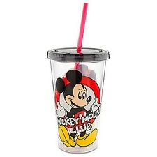 Classic MICKEY MOUSE CLUB Tumbler with Straw (16 oz) DISNEY TRAVEL CUP MUG TEA