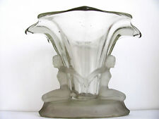 ANTIQUE, ART DECO WALTHER & SOHNE CLEAR GLASS VASE WITH FROSTED FIGURES, WINDSOR