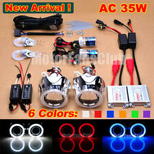 "New 2.5"" Bi-Xenon HID Projector Kit Lens Car Headlights Angel Eye Halo AC/35W"