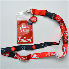 Fallout Nuka Cola Red Lanyard Necklace ID Holder Keychain With Sticker LICENSED