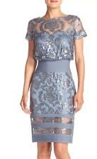 Stuning Tadashi Shoji Sequin Steel Blue Embroidered Lace Cocktail $348/NWT SZ 12