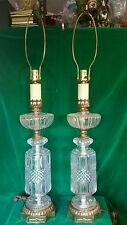 set of 2 large clear cut glass & brass table lamps