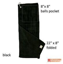 "Golf Tour Towel Two fold 22"" x 8"" Golf Velour Key chain Hook Black"