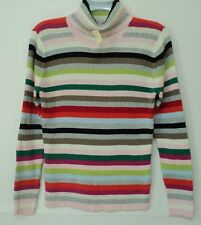 NEW women's size large St. John's Bay turtleneck SWEATER striped ribbed knit L