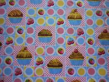 CLEARANCE FQ CUPCAKES CHERRIES STRAWBERRIES SQUARES FABRIC FOOD KITCHEN KITSCH