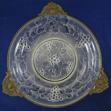 VERLYS Antique CONSOLE CENTERPIECE BOWL French Art Glass BRASS ORMOLU Signed