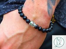 Men's Black Onyx/Matt Skull Bracelet with Swarovski Crystal 7-8inch Elasticated
