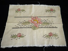 Antique Embroidery Tinted Royal Society Water Lilies Linen Fabric Pillow Cover