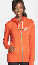 Nike Women's GYM VINTAGE Hoodie LITE SUMMER SWEATSHIRT L ORANGE NWT F ZIP 813872