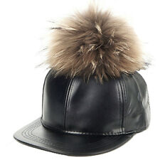 LADIES GIRLS FAUX LEATHER 5 PANEL BASEBALL CAP WITH FUR POMPOM