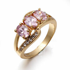 Jewelry Size 8 Pink Sapphire Topaz Women Luxury Gold Filled Emerald Cut Ring