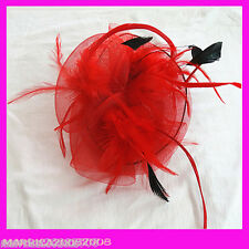 Red Elegance Fascinators Feather Hat with Clip for Wedding and Party
