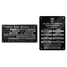 Serenity FIREFLY Exact 1:1 Prop REPLICA Builder Plaques Metalized STICKER SET 2p
