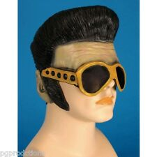 NEW ELVIS RUBBER MASK Latex Sideburns Sunglasses Hair Wig Presley Funny Adult