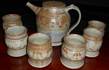 Studio Pottery Handcrafted GREG OLSON STONEWARE 7 pc Beverage Set CALIORNIA