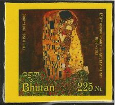 "Bután 2012 gustav klimt ""The Kiss"" pinturas pinturas stamp on silk seda mnh."
