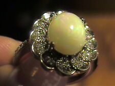 STERLING SILVER 925 white OPAL RING 7 WHITE GOLD natural WHITE SAPPHIRE solitair