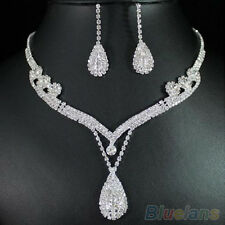 Bridal Chic Clear Austrian Crystal Rhinestone Water Drop Necklace Earrings Set