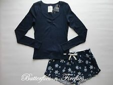 NWT GILLY HICKS for HOLLISTER by Abercrombie 2pc Pajama Set Tee & Shorts Navy S