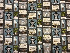 TREASURE ISLAND JERSEY GREY A35 DRESSMAKING FABRIC CHILDRENS PIRATES MARINE