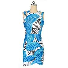 """TAMMY"""" GORGEOUS LADIES SIZE 12 BRIGHT BLUE WHITE BLACK FITTED STRETCH MINI DRESS"""