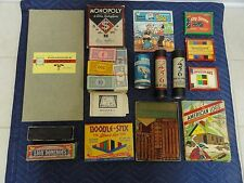 Group of Vintage Toys Games Monopoly Puzzles Dominos American Lincoln Logs