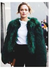 Zara Green Short Faux Fur Jacket Coat M Medium