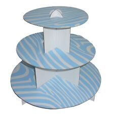 "12"" Zebra Blue 3 Tier Cardboard Cup Cake Holder Stand Tower Wedding Baby Shower"