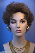 Soft       Brunette Short Human Hair  Wavy Curly Wigs