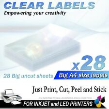 28 SHEETS A4 CLEAR INKJET PRINTER LABELS ADHESIVE TRANSPARENT TRANSPARENCY FILM