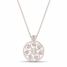 Unique Medallion Diamond Pendant Necklace Antique Vintage Style 14k Rose Gold