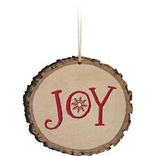 "JOY Snowflake Wooden Barky Christmas Ornament, 3.5"" Tall"